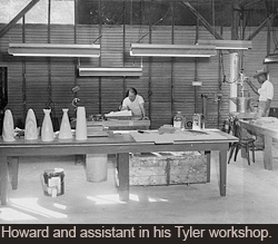 Howard and assistant in his Tyler workshop